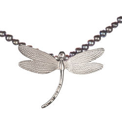 Dragonfly Charm and Black Freshwater Pearl Necklace