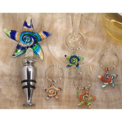 Murano Art Deco Starfish Stopper and Wine Charms