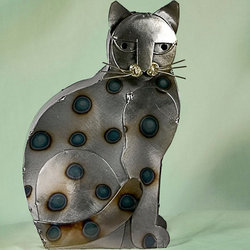 My Spotted Cat Tin Sculpture