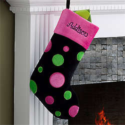 Personalized Girl's Black Polka Dots Christmas Stocking