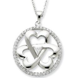 Legacy of Love Heart Necklace in Sterling Silver with CZ Gemstone