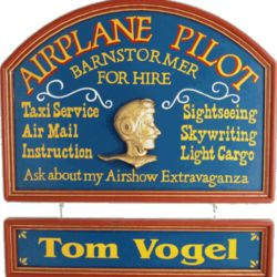 Barnstormer Airplane Pilot Wall Decor Plaque