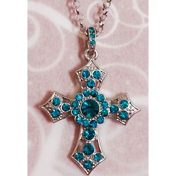 Jewel Encrusted Cross Medallion Necklace