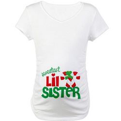 Candy Cane Little Sister Christmas Maternity T-Shirt