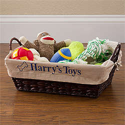 Pet Toy Basket with Personalized Tan Liner