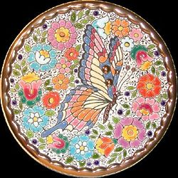 Handmade Butterfly Plate in Enamels and 24Kt. Gold from Spain