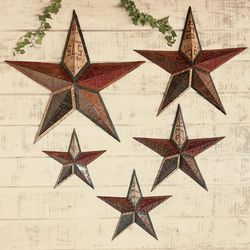 Faux License Plate Stars Metal Wall Art