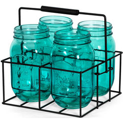 Blue Mason Jar Tealight Holders and Square Caddy Set