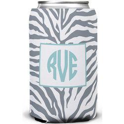 Customized Gray Zebra Print Can Koozie