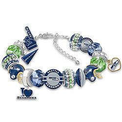 Seattle Seahawks Beaded Charm Bracelet