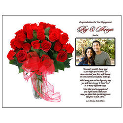 Poetry Print with Roses for the Engaged Couple