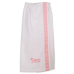 Personalized Cotton Velour Bath Wrap with Pink Polka Dot Ribbon