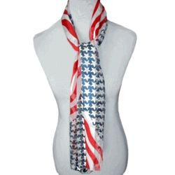 American Flag Long Satin Scarf