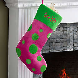 Pink & Green Polka Dots Personalized Christmas Stocking