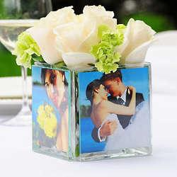 Square Glass Photo Vase