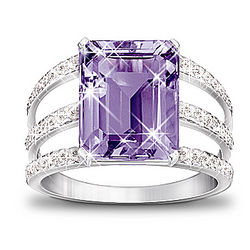 Triple Band Timeless Radiance Purple Amethyst and Diamond Ring