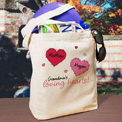 Loving Hearts Personalized Canvas Tote Bag