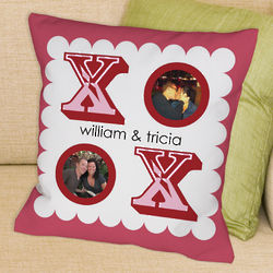 Personalized XOXO Photo Collage Throw Pillow