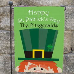 St. Patrick's Day Personalized Leprechaun Garden Flag