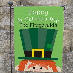 St. Patrick's Day Personalized Leprechaun Garden Flag