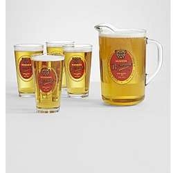 Personalized Bulldog Pitcher with 4 Pub Glasses
