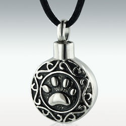 Eternity Paw Stainless Steel Cremation Pendant