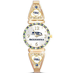 Seattle Seahawks Bracelet Watch with Team Color Crystals