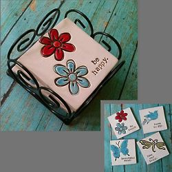 Hand Stamped Happy Ceramic Coaster Set with Stand