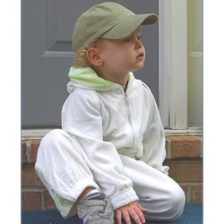 Ultimate Ivory Baby Sweatsuit with Lime Trim