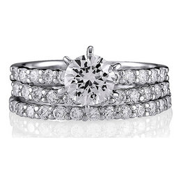 Sterling Silver Ring Round CZ Stackable 3 Ring Set