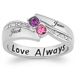 "Sterling Couples ""Love Always"" Birthstone & Name Diamond Ring"