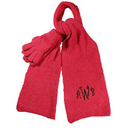 Personalized Plush Scarf and Gloves Set
