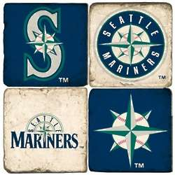 Seattle Mariners Tumbled Italian Marble Coasters