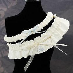 "Embroidered ""I Do"" Ivory Wedding Garders"