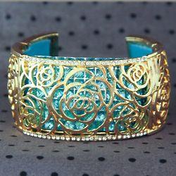 Vintage Inspired Rhinestone Floral Bracelet
