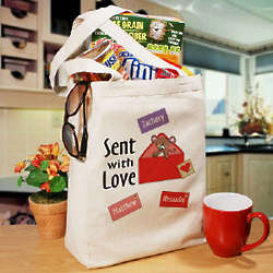 Sent with Love Personalized Canvas Tote Bag