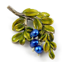 Brass and Pearl Blueberry Branch Brooch