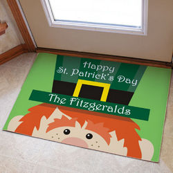 St. Patrick's Day Personalized Leprechaun Doormat