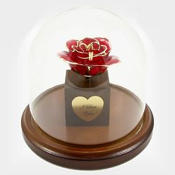 Personalized Enchanted Preserved Rose Bloom in Glass Dome