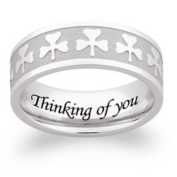 Men's Stainless Steel Engraved Clover Band