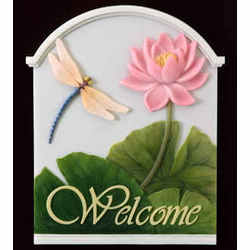 Dragonfly and Water Lily Welcome Plaque