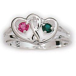 Sterling Silver Couples Heart Ring