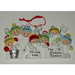 Snowball Fight Family Christmas Ornament