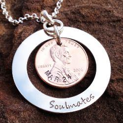 Soulmate Wedding Penny Hand-Stamped Sterling Silver Necklace
