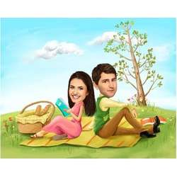 Lovely Picnic Caricature Print from Photos
