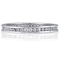 Sterling Silver Round Channel CZ Eternity Band