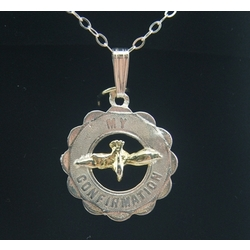 Dove in Wreath Confirmation Medal with Gold Inlay