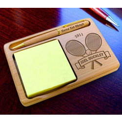 Personalized Tennis Star Wooden Notepad & Pen Holder