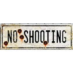 Vintage Metal No Shooting Sign with Bullet Holes