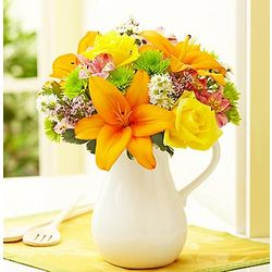 Fields of Europe Flowers in White Ceramic Pitcher